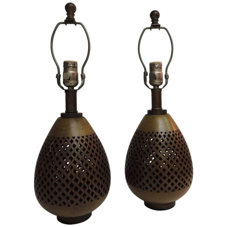 Pair of Vintage Round Mid-Century Modern Brass Lamps with Piercing Details