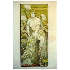 Belgian Hand-Signed Art Nouveau Decorative Panel 'Salomé' by Paul Berthon, 1898