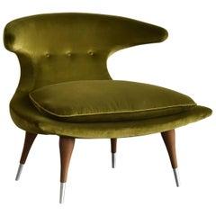 """Karpen of California """"Horn"""" Lounge Chair Green Velvet, Walnut, Aluminum, 1950s"""