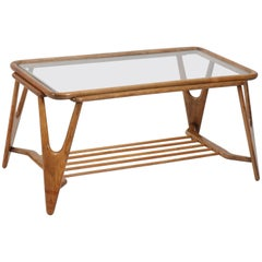 Walnut Italian Mid-Century Modern Coffee Table by Cesare Lacca, 1950s