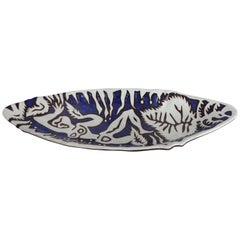 Jean Lurçat Eliptical Shaped Footed Ceramic Tray with Abstract Nude Figure