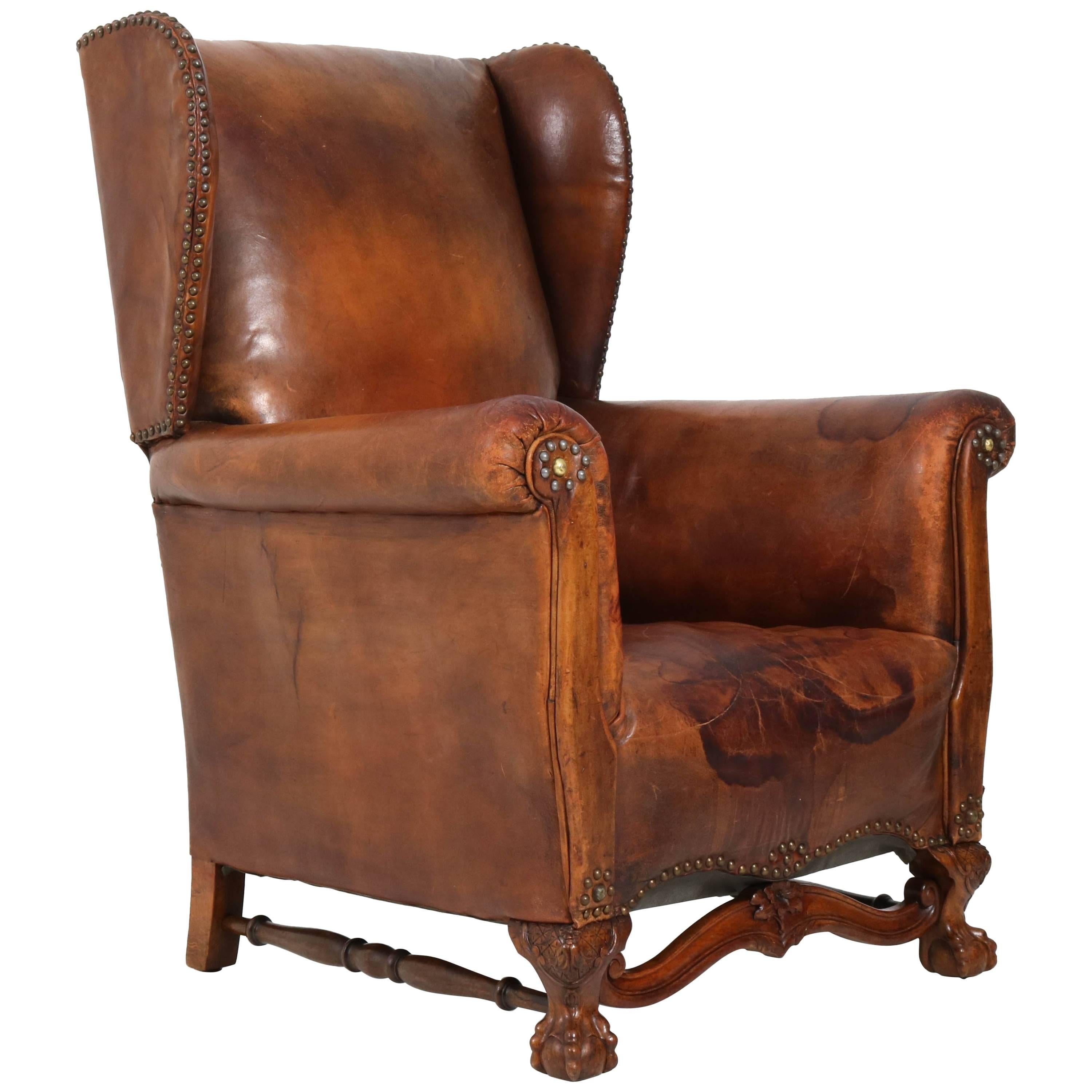 English Leather Wingback Chair With Chippendale Ball Claw Feet, 1930s For  Sale