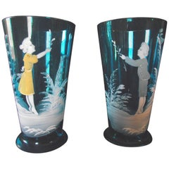 Pair of Mary Gregory Hand-Painted Blue Glasses/Vases
