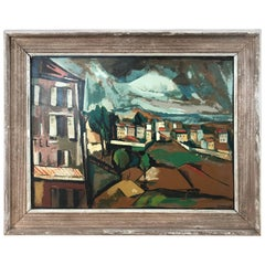 Signed Midcentury Gouache on Board of a Village