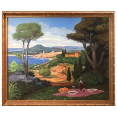Large Bucolic Landscape Painting of Italy