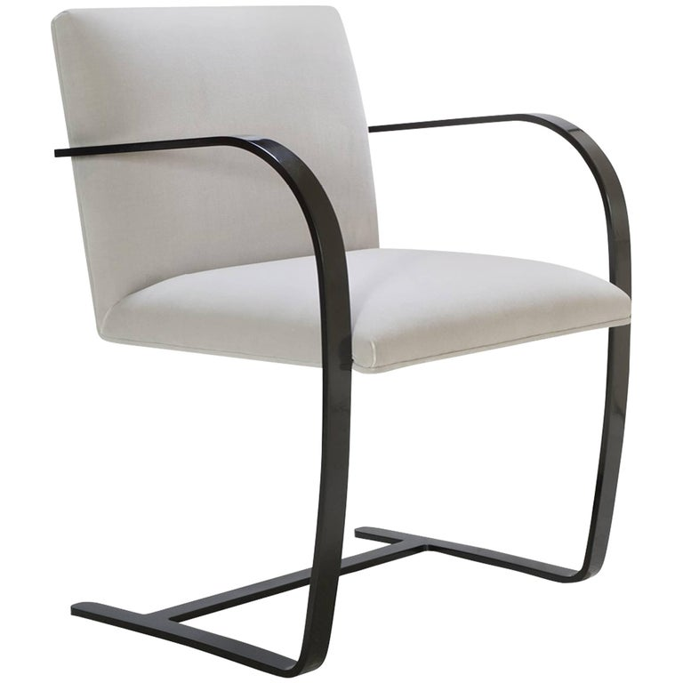 Brno Flat-Bar Chairs in Dove Velvet, Obsidian Gloss Frame