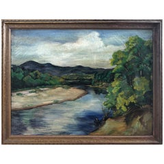 Antique Impressionist Landscape Oil on Canvas