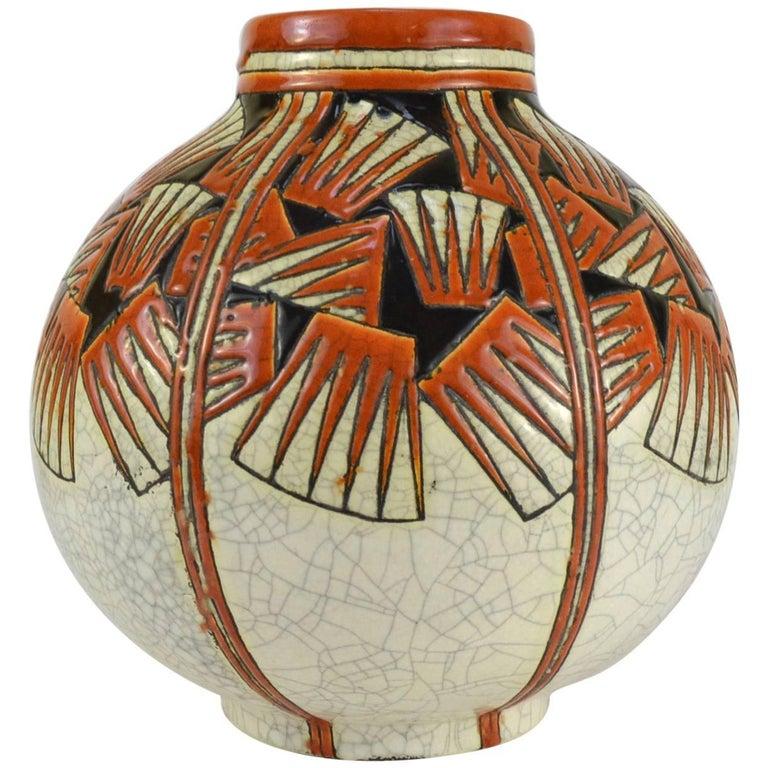 Charles Catteau Faience Ceramic and Polychrome Enamels Vase Keramis