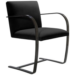 Brno Flat-Bar Chairs in Noir Velvet, Obsidian Gloss Frame