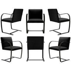 Brno Flat-Bar Chairs in Noir Velvet, Obsidian Gloss Frame, Set of Six