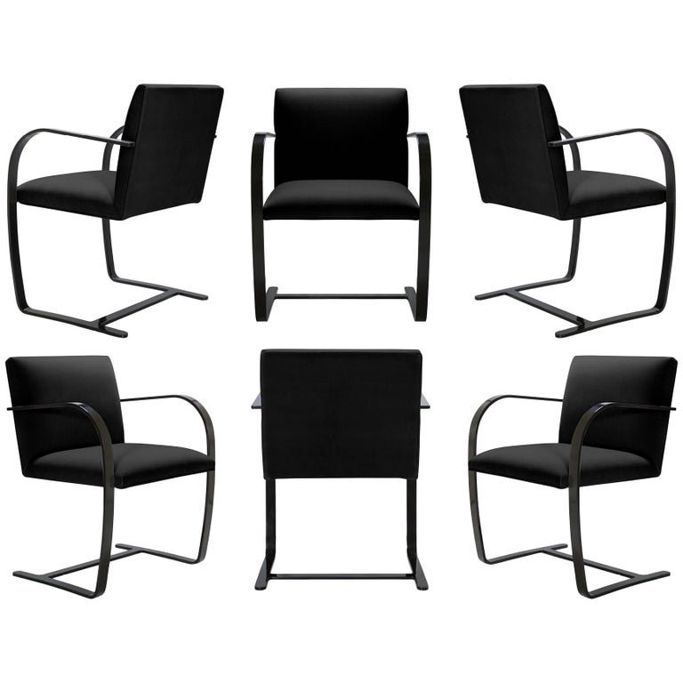 Brno Flat-Bar Chairs in Noir Velvet, Obsidian Gloss Frame, Set of Six For Sale