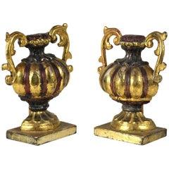 Pair of Italian Giltwood Urns, circa 1840s