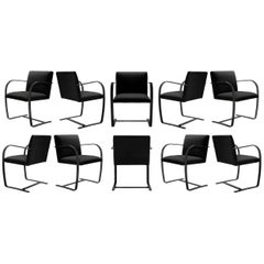 Brno Flat-Bar Chairs in Noir Velvet, Obsidian Gloss Frame, Set of Ten