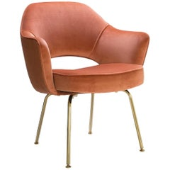 Saarinen Executive Arm Chairs in Rust Velvet, 24k Gold Edition