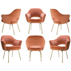 Saarinen Executive Arm Chairs in Rust Velvet, 24k Gold Edition, Set of Six
