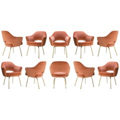 Saarinen Executive Arm Chairs in Rust Velvet, 24k Gold Edition, Set of Ten