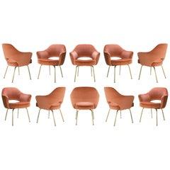 Saarinen Executive Arm Chairs in Rust Velvet, 24k Gold Edition, Set of Ten