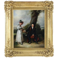 Duval le Camus Pierre French Romantic Period Oil on Canvas Father and Daughter