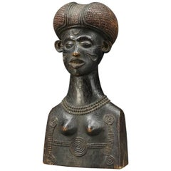 Zaire Chokwe Tribal Female Bust with Scarifications and Finely Carved Hair
