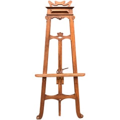 Hand-Crafted Wooden Arts & Crafts Period Floor Easel or Artist Painting Display