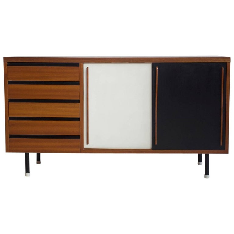 Teak Sideboard with Black and White Painted Sliding Doors and Five Drawers