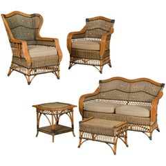 Beautiful  French Vintage Five-Piece Wicker Porch Set by Grange