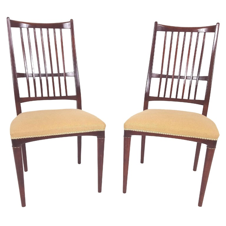 Pair of Mid-20th Century Swedish Beech Side Chairs