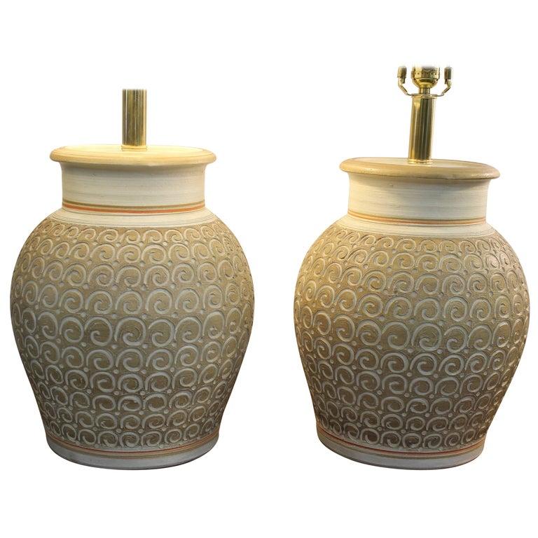 Pair of Ceramic Lamps by Casual Lamps of California