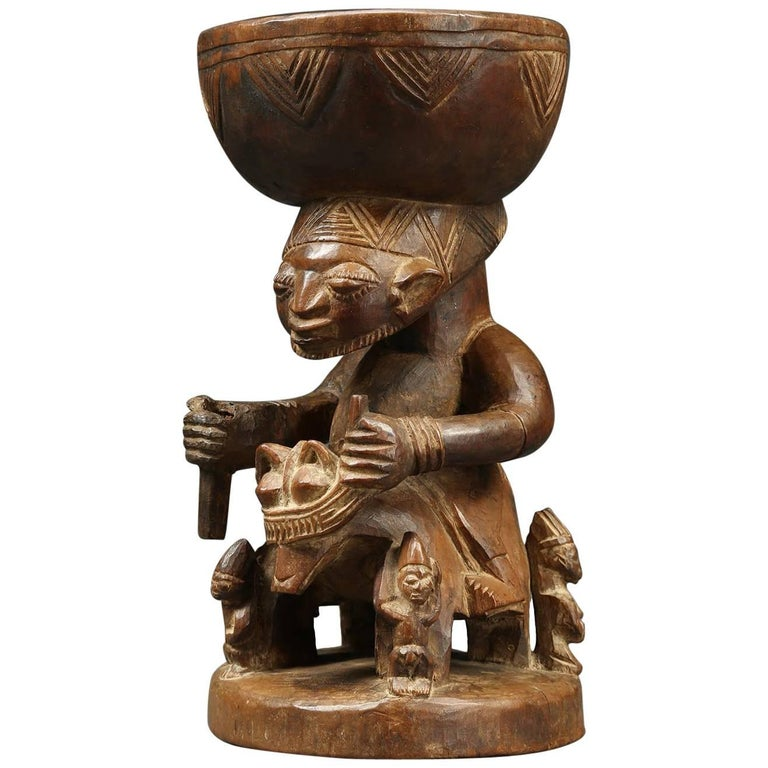 Yoruba Tribal Offering Bowl with Horse and Rider, Nigeria