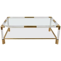 Coffee Table with Two Vintage Shelves in Lucite and Brass, Italy, 1970s