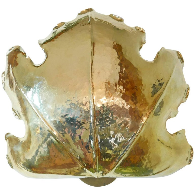 Leaf Brass Wall Lamp, in the Style of Bottega Gadda, Milano, 1960s For Sale