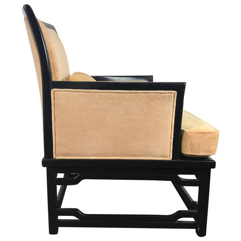 Black Lacquer and Velvet Asian Modern Armchair by Hibriten after James Mont