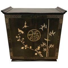 Chinese Black Liquor Cabinet Bar with Mother-of-Pearl Inlay