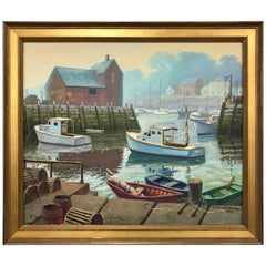 Rockport Maine New England Signed Oil Painting Edward Tomasiewicz