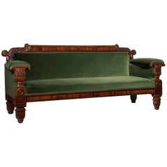 Large 19th Century Regency Sofa in Mahogany & Green Velvet Design by John Taylor