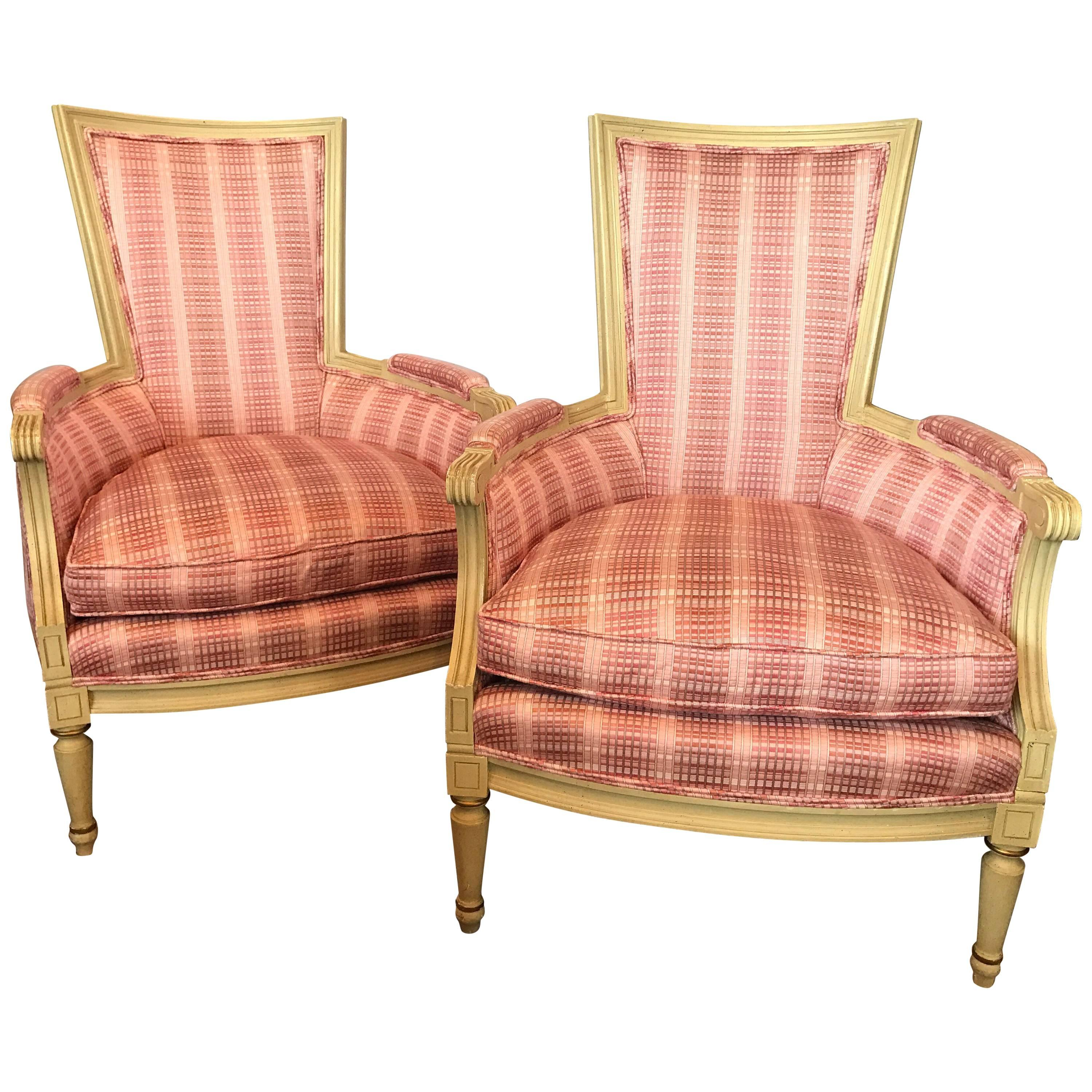 Exceptionnel French Cream Painted Upholstered Pink Plaid Armchairs