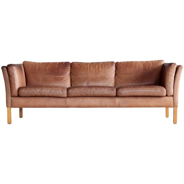Børge Mogensen Style Sofa in Patinated Light Cognac Buffalo Leather by Stouby