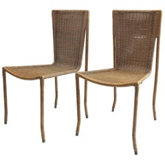 Sculptural 1970s Italian Wicker Wrapped Brass Frame Chairs, Pair