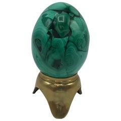 1960s Italian Malachite Egg Sculpture on Brass Stand