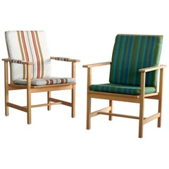 Pair of Børge Mogensen Model 2257, Oak Lounge Chair for Fredericia Stolefabrik