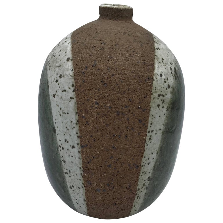 1970s Modern Italian Tricolor Pottery Vase For Sale