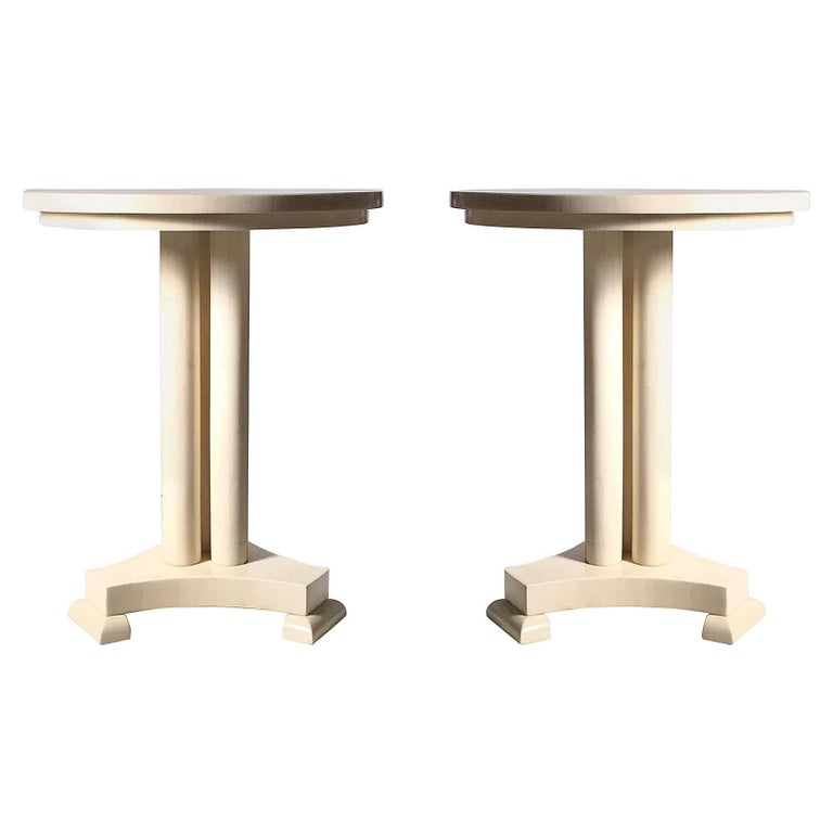 Classy Pair of Enrique Garcel Neoclassical Side Tables for Jimeco