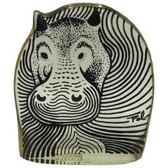 1970s Abraham Palatnik Lucite Hologram Hippo Sculpture