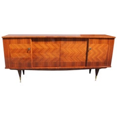 French Art Deco Light Exotic Macassar Ebony'' Zig Zag'' Sideboard / Buffet