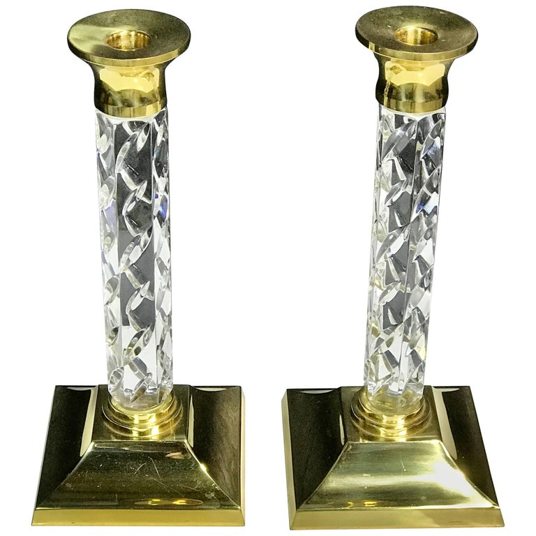 Pair of Midcentury Waterford Crystal and Brass Candlesticks For Sale