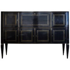Italian Ebonized Bronze-Inlaid Cabinet on Tapered