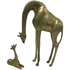 1960s Italian Brass Giraffe Sculptures, Pair