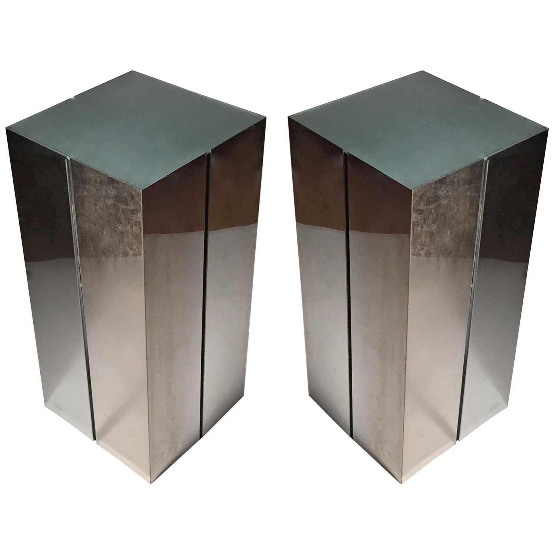 Pair of Neal Small Illuminated Pedestal Table Stands for Kovacs