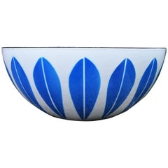 Large Cathrineholm Enamel Bowl in White with Blue Lotus Design
