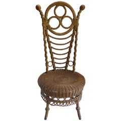 Rare 19th Century French Victorian Boudoir Wicker Chair